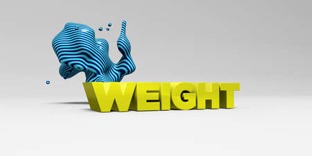 WEIGHT - 3D rendered colorful headline illustration.  Can be used for an online banner ad or a print postcard.