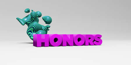 honors: HONORS - 3D rendered colorful headline illustration.  Can be used for an online banner ad or a print postcard.