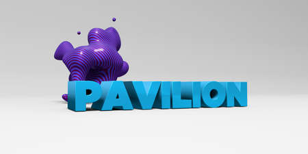pavilion: PAVILION - 3D rendered colorful headline illustration.  Can be used for an online banner ad or a print postcard.