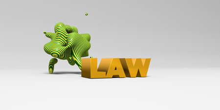 sentence typescript: LAW - 3D rendered colorful headline illustration.  Can be used for an online banner ad or a print postcard.