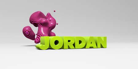 JORDANIÃ‹ - 3D teruggegeven kleurrijke kopillustratie. Kan worden gebruikt voor een online banneradvertentie of een prentbriefkaart.