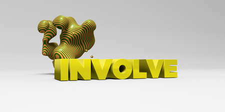 INVOLVE - 3D rendered colorful headline illustration.  Can be used for an online banner ad or a print postcard.