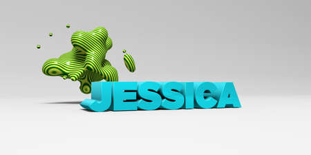 sentence typescript: JESSICA - 3D rendered colorful headline illustration.  Can be used for an online banner ad or a print postcard.