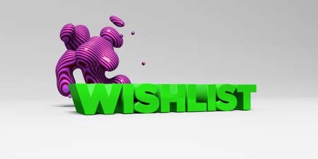 WISHLIST - 3D rendered colorful headline illustration.  Can be used for an online banner ad or a print postcard.