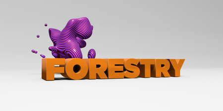 FORESTRY - 3D rendered colorful headline illustration.  Can be used for an online banner ad or a print postcard. Reklamní fotografie