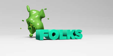 FOLKS - 3D rendered colorful headline illustration.  Can be used for an online banner ad or a print postcard. Banco de Imagens