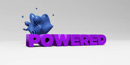 powered: POWERED - 3D rendered colorful headline illustration.  Can be used for an online banner ad or a print postcard.