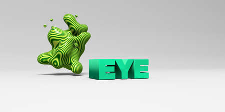 eye 3d: EYE - 3D rendered colorful headline illustration.  Can be used for an online banner ad or a print postcard.