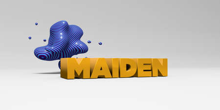 maiden: MAIDEN - 3D rendered colorful headline illustration.  Can be used for an online banner ad or a print postcard. Stock Photo