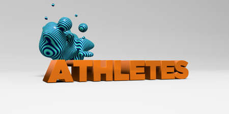 ATHLETES - 3D rendered colorful headline illustration.  Can be used for an online banner ad or a print postcard.
