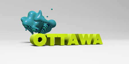 OTTAWA - 3D rendered colorful headline illustration.  Can be used for an online banner ad or a print postcard.