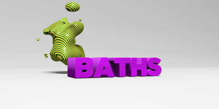 sentence typescript: BATHS - 3D rendered colorful headline illustration.  Can be used for an online banner ad or a print postcard. Stock Photo
