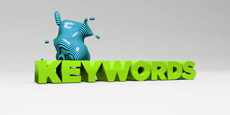 banner ad: KEYWORDS - 3D rendered colorful headline illustration.  Can be used for an online banner ad or a print postcard.