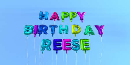Happy Birthday Reese card with balloon text - 3D rendered stock image. This image can be used for a eCard or a print postcard.