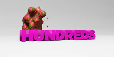 hundreds: HUNDREDS - 3D rendered colorful headline illustration.  Can be used for an online banner ad or a print postcard.