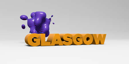 GLASGOW - 3D rendered colorful headline illustration.  Can be used for an online banner ad or a print postcard.