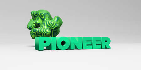 pioneer: PIONEER - 3D rendered colorful headline illustration.  Can be used for an online banner ad or a print postcard.