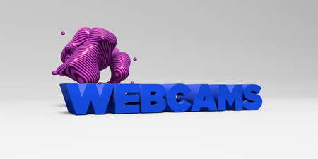 WEBCAMS - 3D representa la ilustración colorida titular. Puede ser utilizado para un banner publicitario en línea o una postal de impresión. Foto de archivo - 66623193