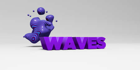 sentence typescript: WAVES - 3D rendered colorful headline illustration.  Can be used for an online banner ad or a print postcard.