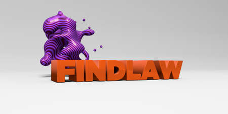 banner ad: FINDLAW - 3D rendered colorful headline illustration.  Can be used for an online banner ad or a print postcard. Stock Photo