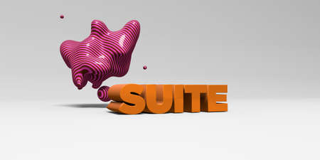 SUITE - 3D rendered colorful headline illustration.  Can be used for an online banner ad or a print postcard. Stock Photo