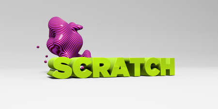 banner ad: SCRATCH - 3D rendered colorful headline illustration.  Can be used for an online banner ad or a print postcard.