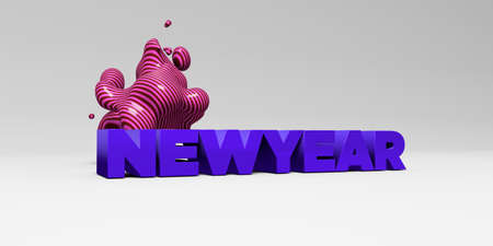 sentence typescript: NEWYEAR - 3D rendered colorful headline illustration.  Can be used for an online banner ad or a print postcard. Stock Photo