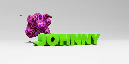 JOHNNY - 3D rendered colorful headline illustration.  Can be used for an online banner ad or a print postcard. Stock Photo