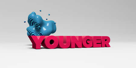 younger: YOUNGER - 3D rendered colorful headline illustration.  Can be used for an online banner ad or a print postcard. Stock Photo