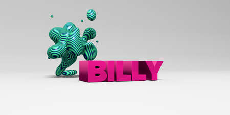 BILLY - 3D rendered colorful headline illustration.  Can be used for an online banner ad or a print postcard.