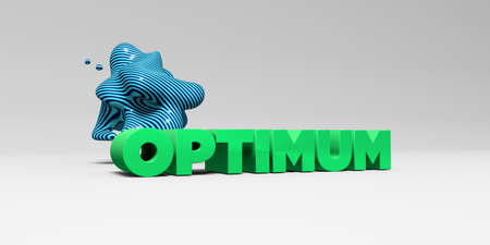 optimum: OPTIMUM - 3D rendered colorful headline illustration.  Can be used for an online banner ad or a print postcard.