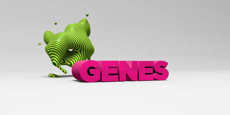 genes: GENES - 3D rendered colorful headline illustration.  Can be used for an online banner ad or a print postcard.