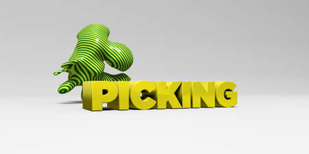 picking: PICKING - 3D rendered colorful headline illustration.  Can be used for an online banner ad or a print postcard.