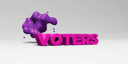 sentence typescript: VOTERS - 3D rendered colorful headline illustration.  Can be used for an online banner ad or a print postcard.