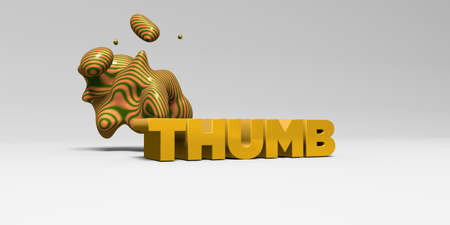 THUMB - 3D rendered colorful headline illustration.  Can be used for an online banner ad or a print postcard.