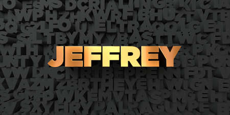 jeffrey: Jeffrey - Gold text on black background - 3D rendered royalty free stock picture. This image can be used for an online website banner ad or a print postcard.