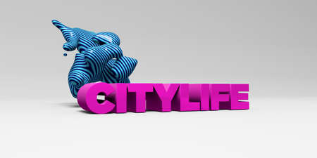 CITYLIFE - 3D rendered colorful headline illustration.  Can be used for an online banner ad or a print postcard. Stock Photo