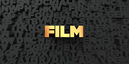 film title: Film - Gold text on black background - 3D rendered royalty free stock picture. This image can be used for an online website banner ad or a print postcard.
