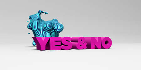 yes no: YES & NO - 3D rendered colorful headline illustration.  Can be used for an online banner ad or a print postcard. Stock Photo