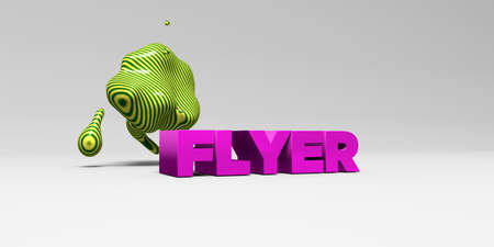 FLYER - 3D rendered colorful headline illustration.  Can be used for an online banner ad or a print postcard.