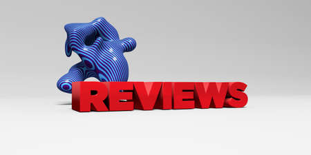 REVIEWS - 3D rendered colorful headline illustration.  Can be used for an online banner ad or a print postcard.