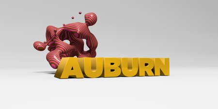 auburn: AUBURN - 3D rendered colorful headline illustration.  Can be used for an online banner ad or a print postcard. Stock Photo