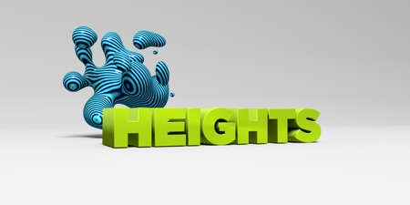 banner ad: HEIGHTS - 3D rendered colorful headline illustration.  Can be used for an online banner ad or a print postcard. Stock Photo