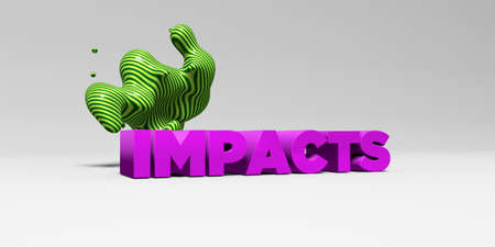 IMPACTS - 3D rendered colorful headline illustration.  Can be used for an online banner ad or a print postcard. Stock Photo