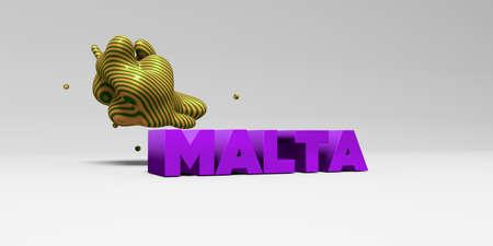 몰타 -3D 다채로운 헤드 라인 그림을 렌더링합니다. 온라인 배너 광고 또는 인쇄 엽서에 사용할 수 있습니다.