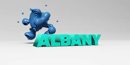 albany: ALBANY - 3D rendered colorful headline illustration.  Can be used for an online banner ad or a print postcard.