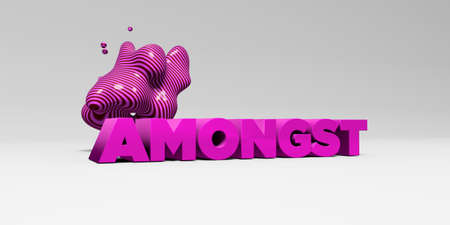 AMONGST - 3D rendered colorful headline illustration.  Can be used for an online banner ad or a print postcard.