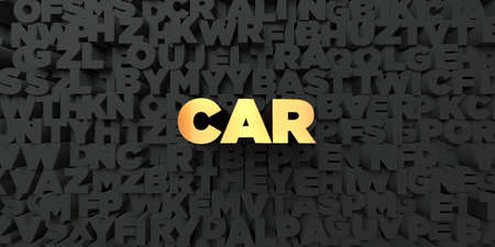 stock car: Car - Gold text on black background - 3D rendered royalty free stock picture. This image can be used for an online website banner ad or a print postcard.
