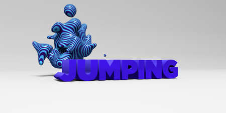 JUMPING - 3D rendered colorful headline illustration.  Can be used for an online banner ad or a print postcard. Stock Photo