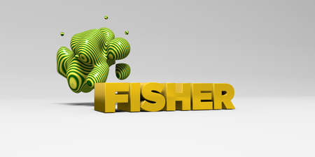 FISHER - 3D rendered colorful headline illustration.  Can be used for an online banner ad or a print postcard.